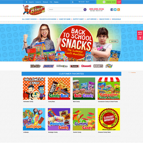 custom responsive design for candy retailer